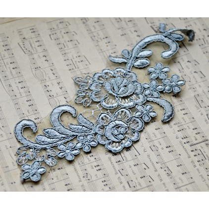 Lace flowers - application - old silver - 1 pc