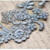 Koronkowe kwiaty - aplikacja - stare srebro - 1 szt