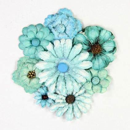 Zestaw papierowych niebieskich kwiatów - Little Birdie - Antique Fusion Flowers Aqua - 8 szt.