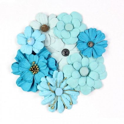 Paper flower set turquise and blue- Little Birdie - Symphony Flowers Aqua