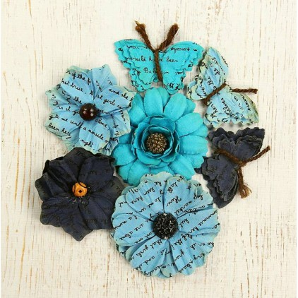 Paper flower set, mix turquise and navy blue - Little Birdie - Asteria Blue - 6 elem.