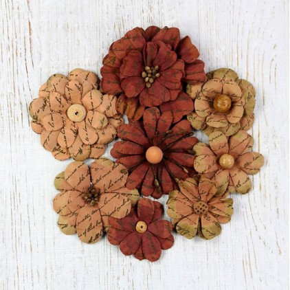 Paper flower set - Little Birdie - Vintage Symphony Flowers Terracotta