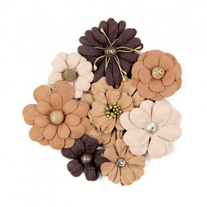 Paper flower set, mix brown - Little Birdie - Symphony Flower Coffee Bean - 8 pcs.