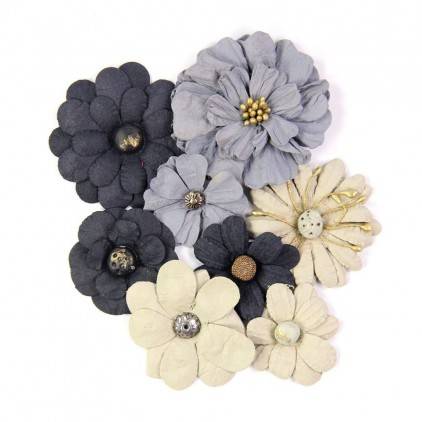 Paper flower set, black and grey- Little Birdie - Symphony Flowers Gentlemen