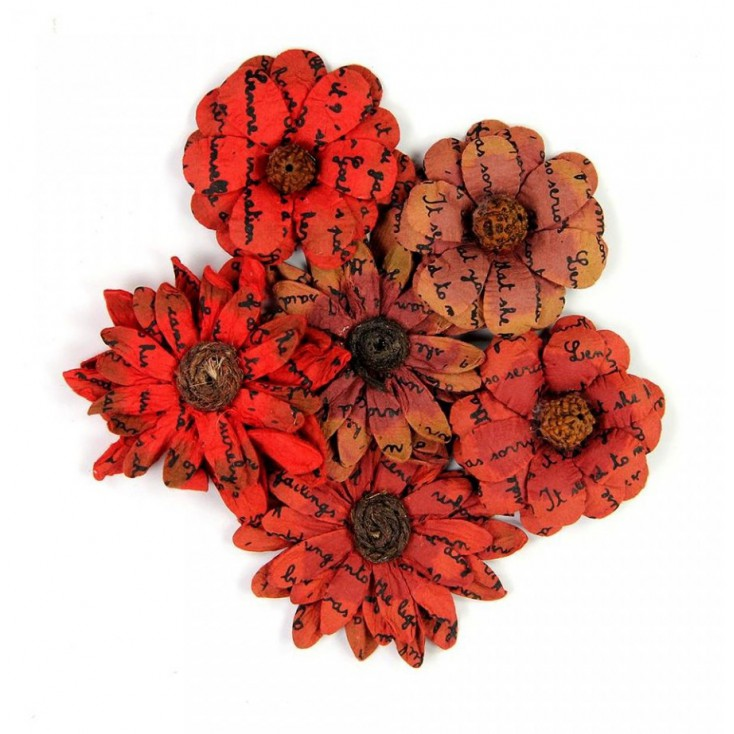 Paper flower set - Little Birdie - Phoebe Vintage Petals Red