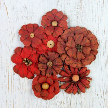 Paper flower set - Little Birdie - Vintage Symphony Flowers Cherry Red