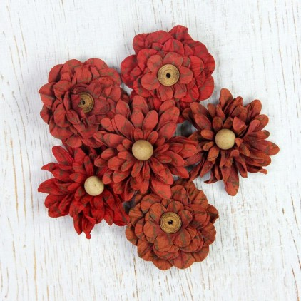 Paper flower set - Little Birdie - Vintage Venice Petals Cherry Red