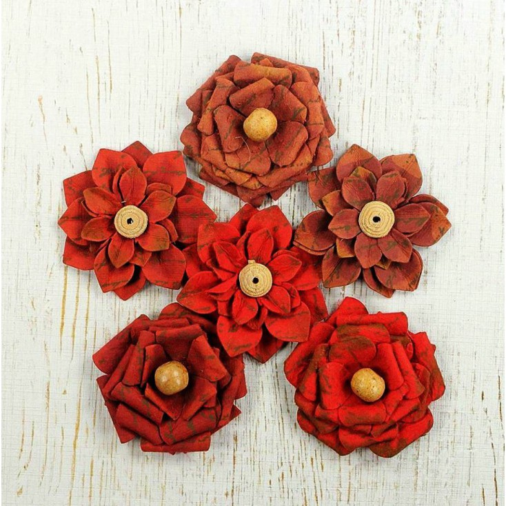 Paper flower set - Little Birdie - Vintage Milan Petals Cherry Red
