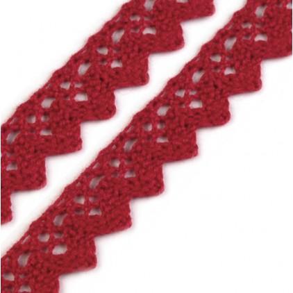 Cotton lace - carmine - 1 meter