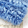 Ruffled - checkered trim - blue - 1 meter