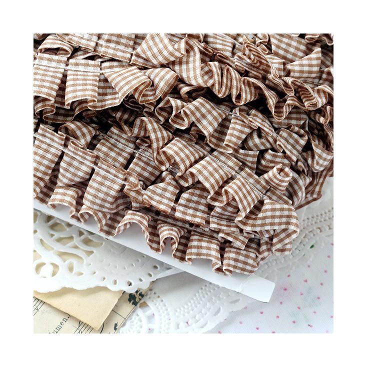 Ruffled - checkered trim - brown - 1 meter