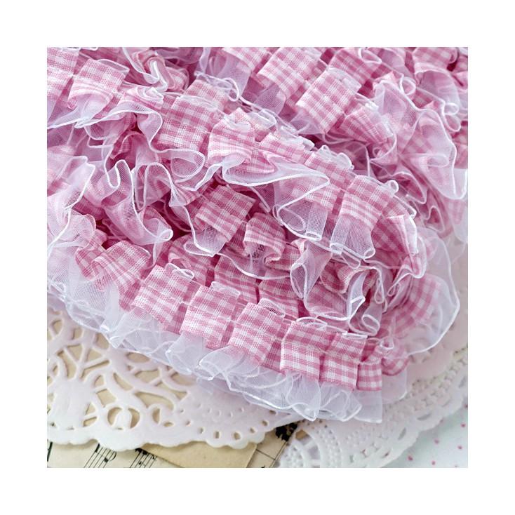 Taśma marszczona w kratkę - różowa z białym szyfonem