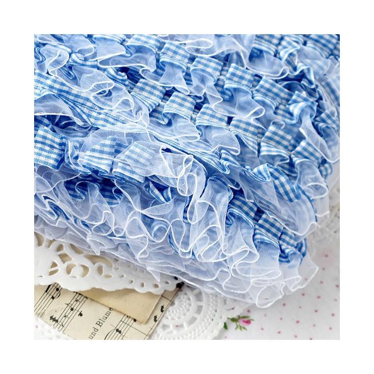 Taśma marszczona w kratkę - niebieska z białym szyfonem- 1 metr