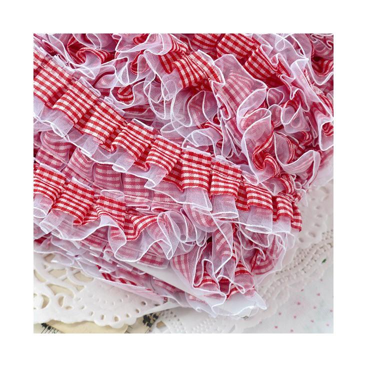 Taśma marszczona w kratkę - czerwona z białym szyfonem - 1 metr