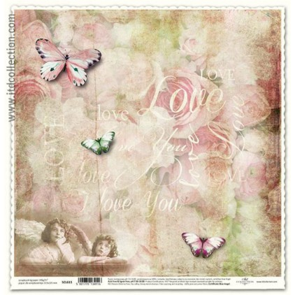 Scrapbooking paper vintage buterflies - ITD Collection SCL613