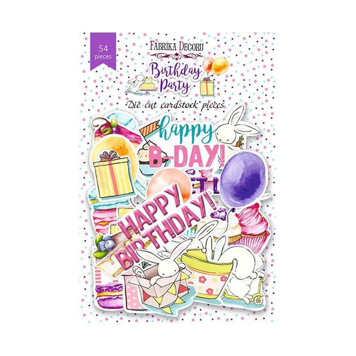 Scrapbooking - Zestaw papierowych kształtów - Fabrika Decoru - Birthday Party - 54 części