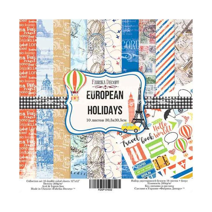 Zestaw papierów do tworzenia kartek i scrapbookingu - Fabrika Decoru - Europejskie wakacje