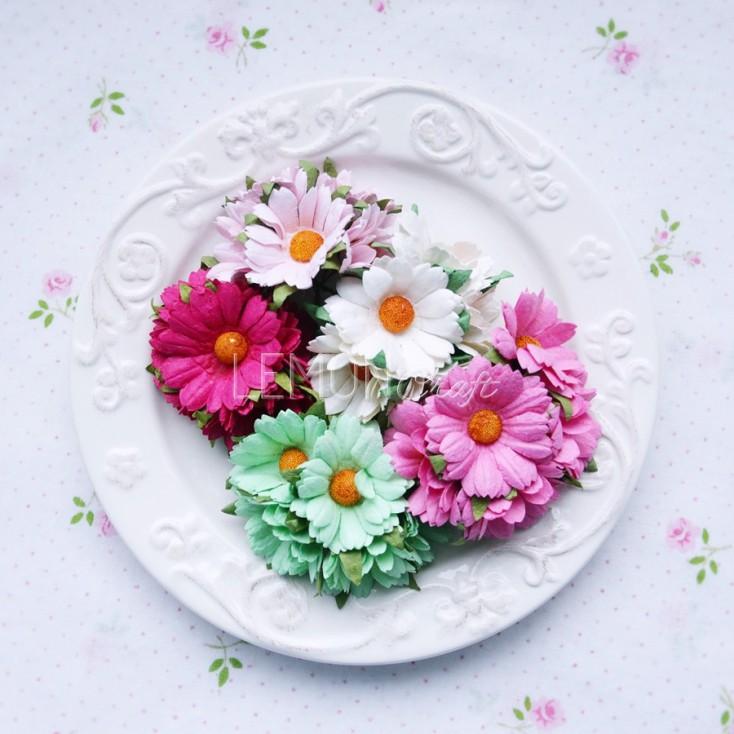 Zestaw papierowych margaretek - miks różowo-zielony - 25 sztuki