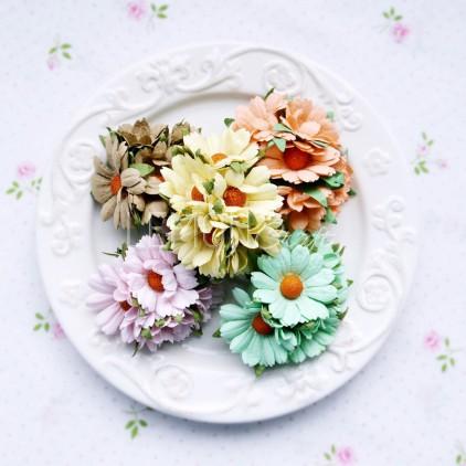 Zestaw papierowych margaretek - miks pastelowy - 25 sztuki