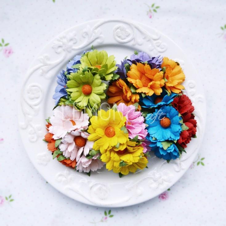Zestaw papierowych margaretek - miks w intensywnych kolorach - 25 sztuki
