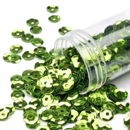 Cupped sequins  in a jar - light green