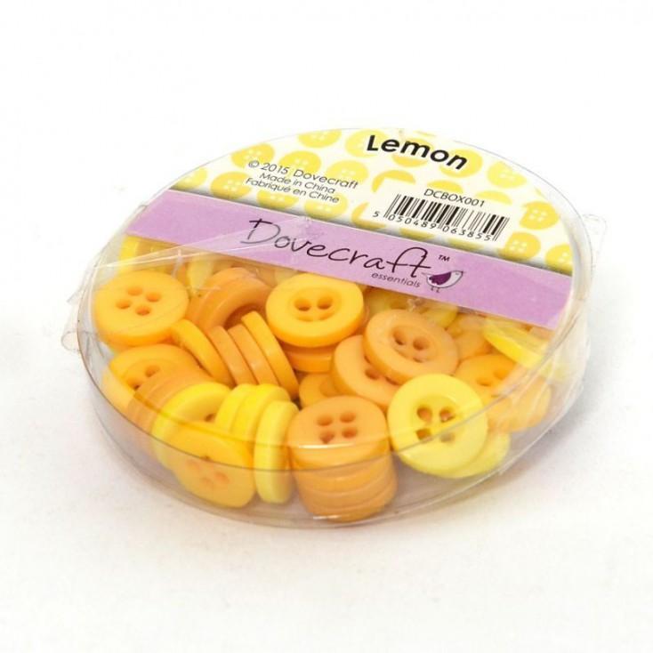 Guziki -Dovecraft - żółte - 60 sztuk
