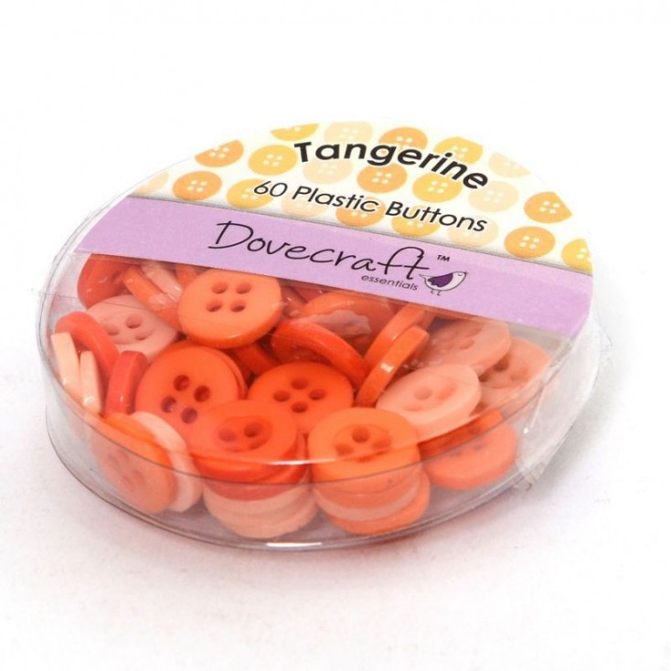 Buttons -Dovecraft - tanggerine - 60 pieces