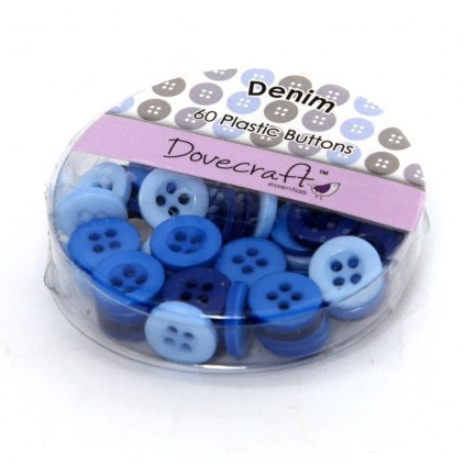 Buttons -Dovecraft - denim - 60 pieces