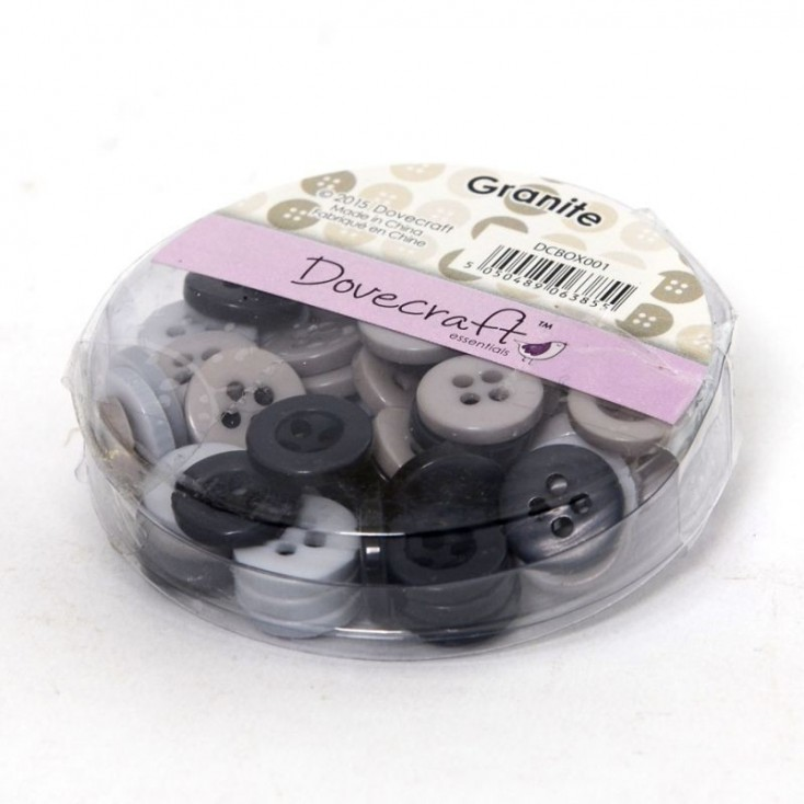 Buttons -Dovecraft - granite - 60 pieces