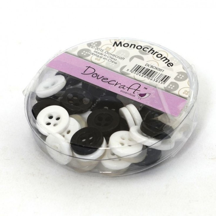 Buttons -Dovecraft - white and black - 60 pieces
