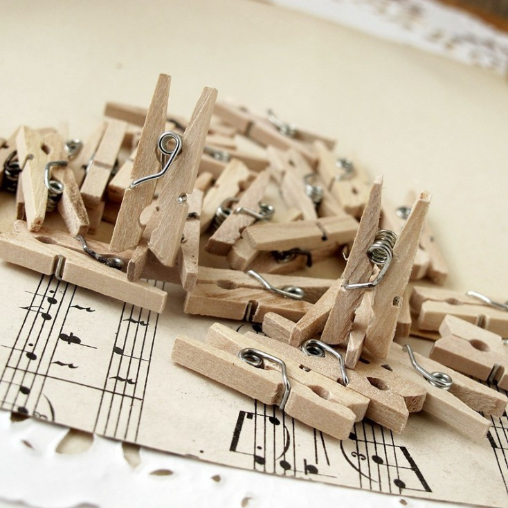 Wooden mini clips - 10 pieces - natural