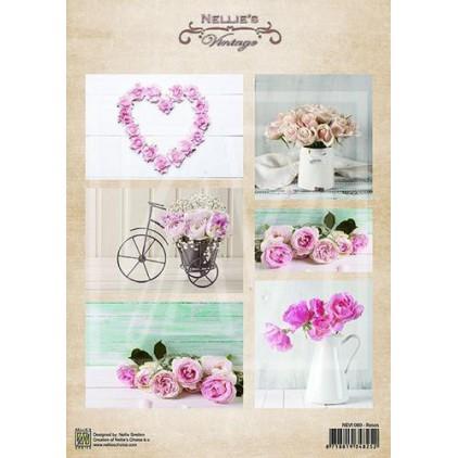 Papier do tworzenia kartek i scrapbookingu - Nellie's Choice - Róże