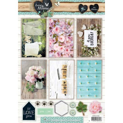 Scrapbooking paper - Studio Light - Love and Home 02 - Die cut sheet A4