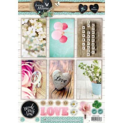 Papier do tworzenia kartek i scrapbookingu - Studio Light - Love and Home 01 - Obrazki do budowania kompozycji