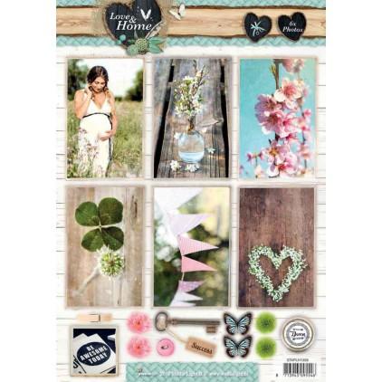 Papier do tworzenia kartek i scrapbookingu - Studio Light - Love and Home 03 - Obrazki do budowania kompozycji