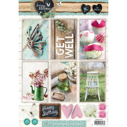 Scrapbooking paper - Studio Light - Love and Home 04 - Die cut sheet A4