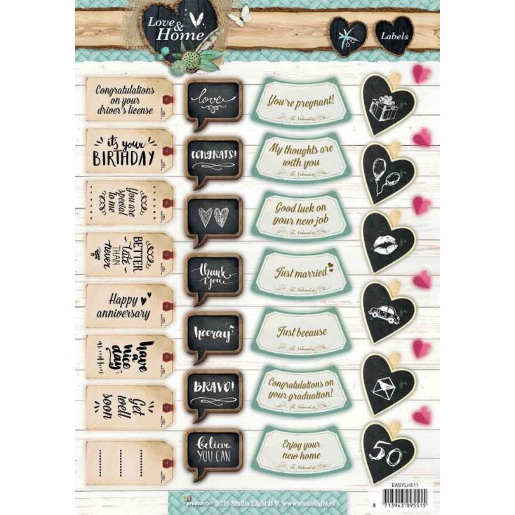 Scrapbooking paper - Studio Light - Love and Home 07 - Die cut sheet A4