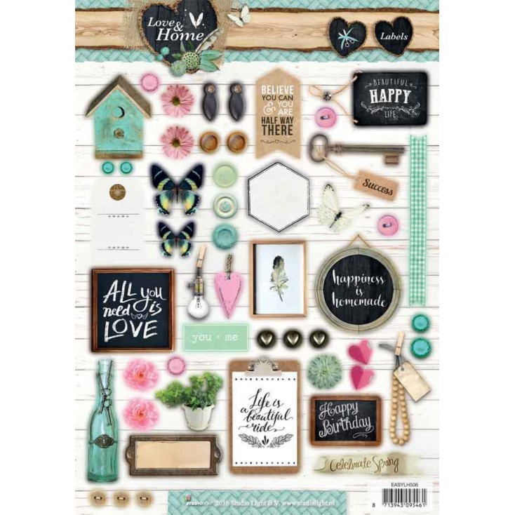 Scrapbooking paper - Studio Light - Love and Home 08 - Die cut sheet A4