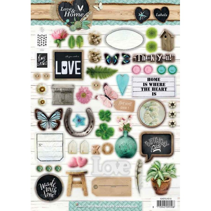 Scrapbooking paper - Studio Light - Love and Home 09 - Die cut sheet A4