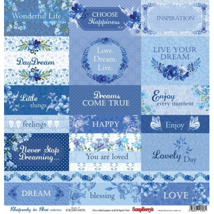 Scrapbooking paper - Scrapberry's -Rhapsody in Blue - cards 1