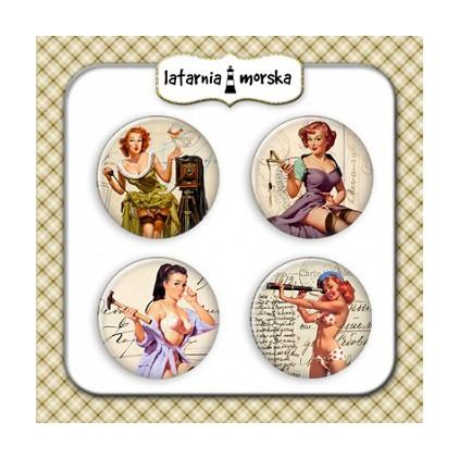 Ozdoby samoprzylepne, buttony - Pin Up Girls 1