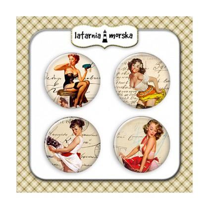 Ozdoby samoprzylepne, buttony -Pin Up Girls 3