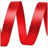 Wstążka satynowa - 1 metr - Czerwona w drobne, białe groszki