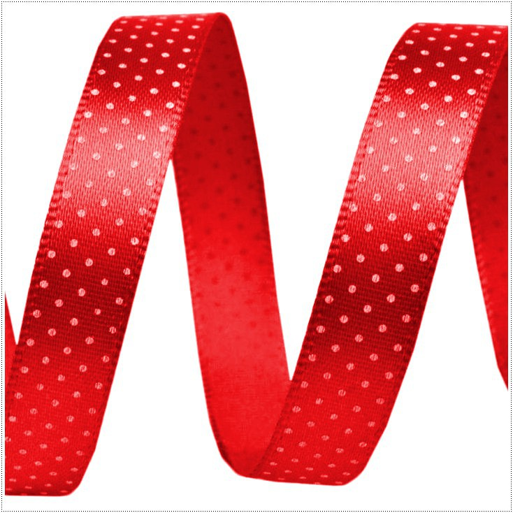 Satin ribbon - 1 meter - Red with tiny, white dots