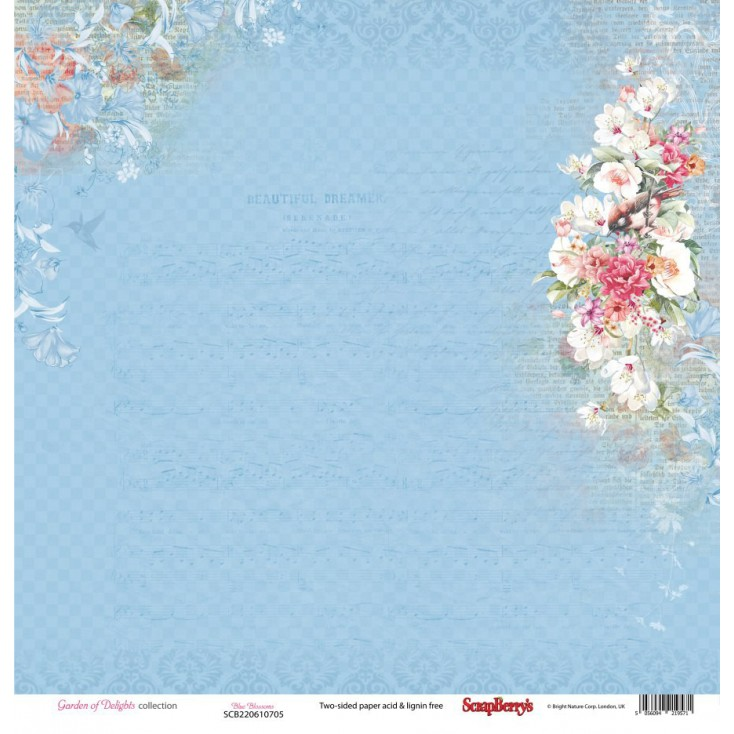 Scrapbooking paper - Scrapberry's - Garden of Delights - Blue blossoms