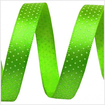 Wstążka satynowa - 1 metr - Zielona w białe groszki