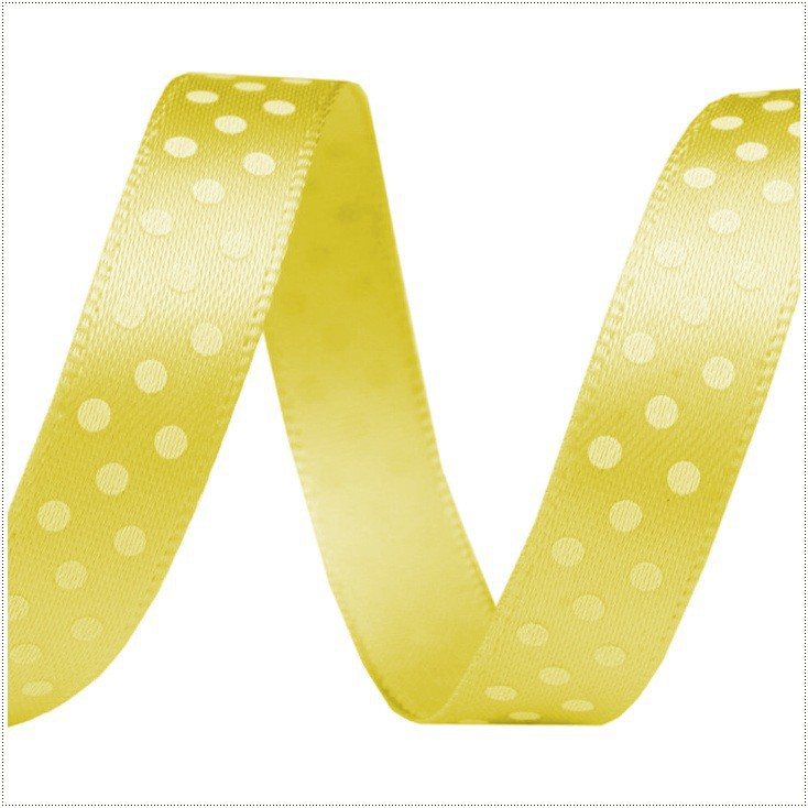 Satin ribbon - 1 meter - yellow with white dots