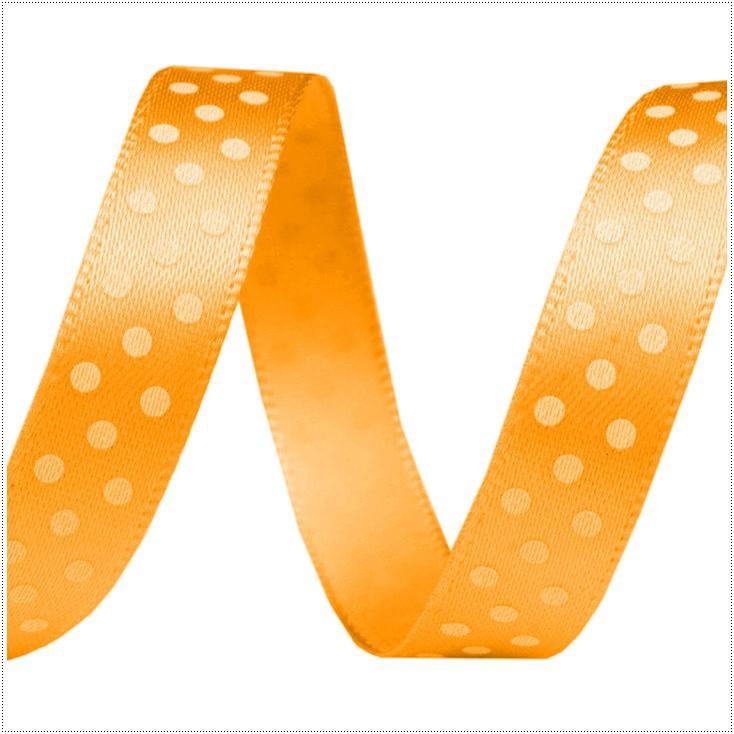 Wstążka satynowa - 1 metr - Pomarańczowa w białe groszki