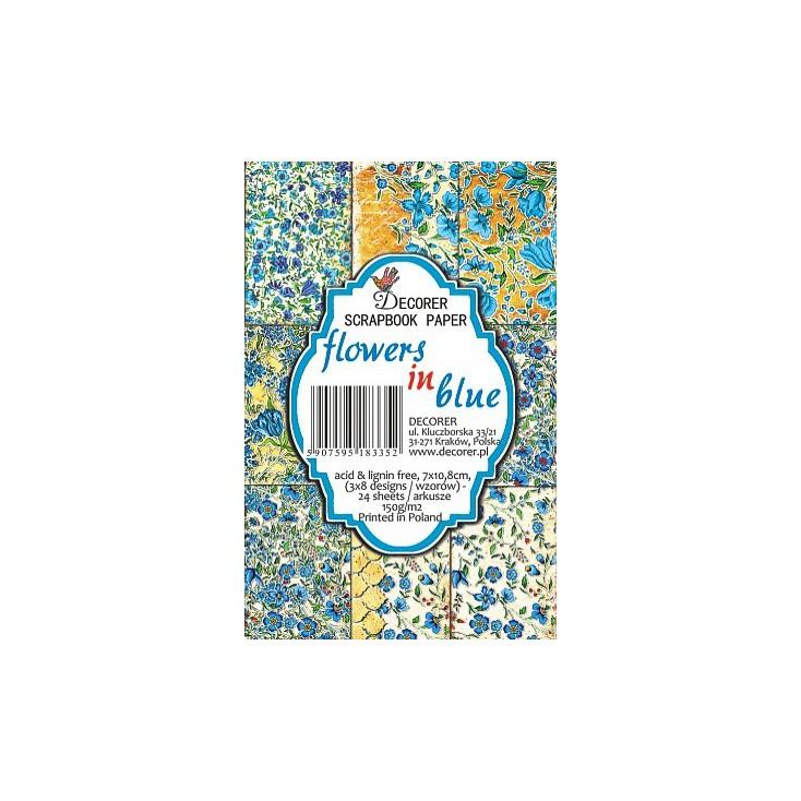 Decorer - Zestaw mini papierów do scrapbookingu - flowers in blue