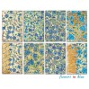 Decorer - Set of mini scrapbooking papers - flowers in blue
